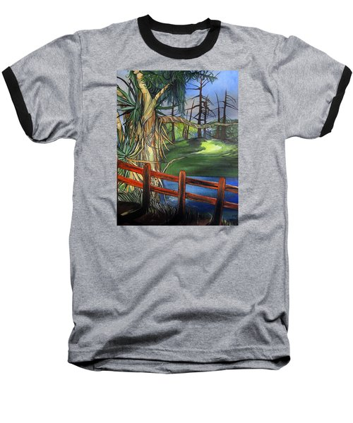 Baseball T-Shirt featuring the painting Camino Real Park by Mary Ellen Frazee