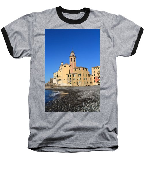 Baseball T-Shirt featuring the photograph Camogli Seaside And Church by Antonio Scarpi