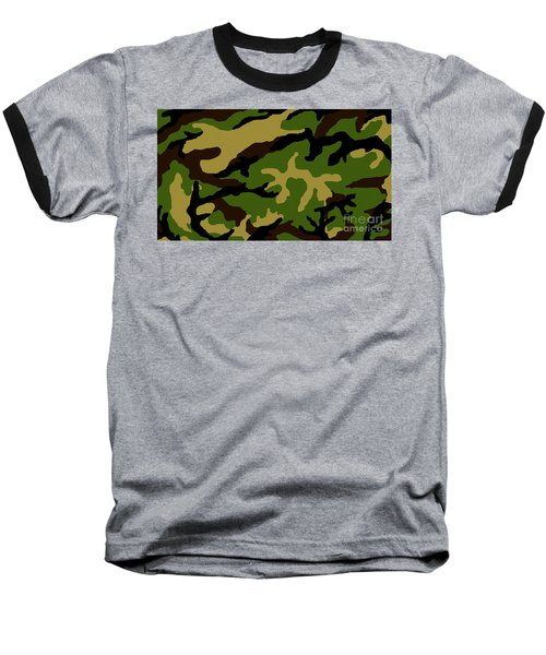 Baseball T-Shirt featuring the painting Camouflage Military Tribute by Roz Abellera Art