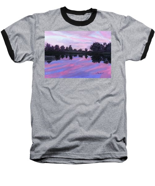 Baseball T-Shirt featuring the painting Camp Sunset by Lynne Reichhart