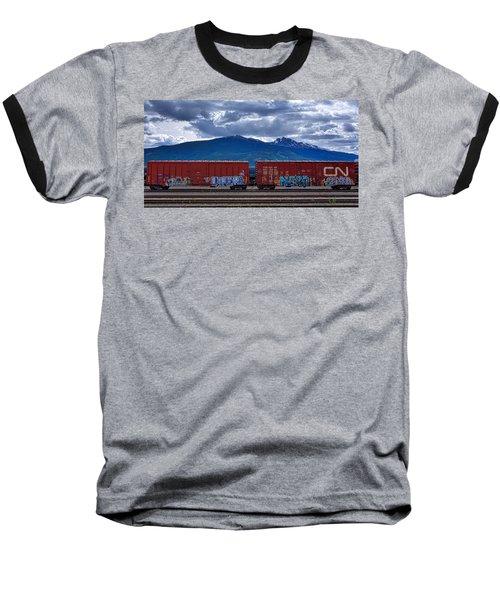 Canadian Freight Train In Jasper Baseball T-Shirt by Stuart Litoff