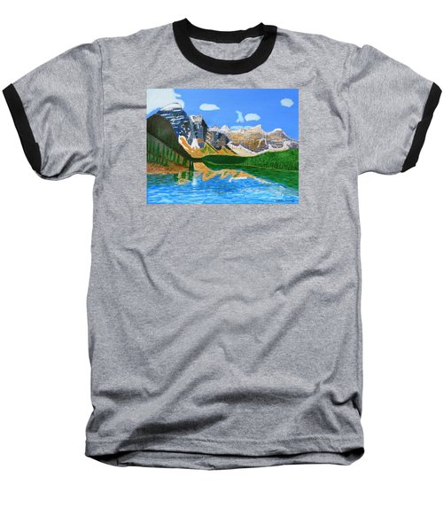 Baseball T-Shirt featuring the painting Canadian Mountains And Lake  by Magdalena Frohnsdorff