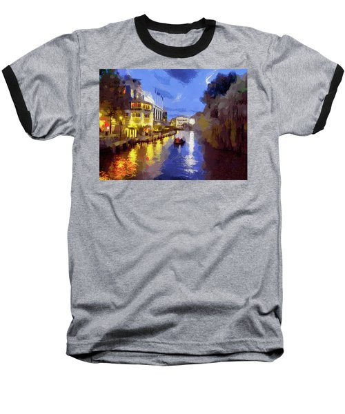 Baseball T-Shirt featuring the painting Water Canals Of Amsterdam by Georgi Dimitrov