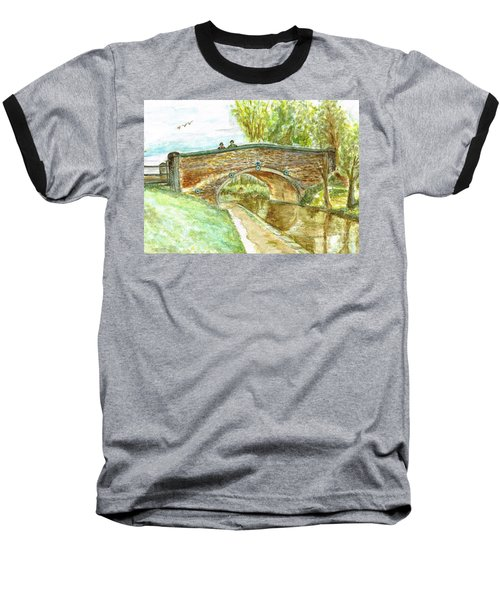 Baseball T-Shirt featuring the painting Canal-bridal Path In Staffordshire  by Teresa White