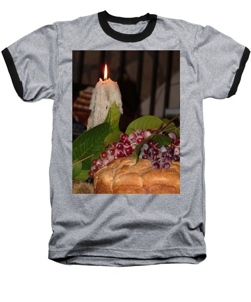 Baseball T-Shirt featuring the photograph Candle And Grapes by Marcia Socolik