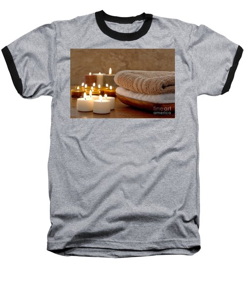 Candles And Towels In A Spa Baseball T-Shirt