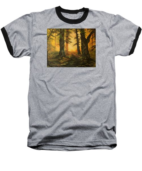 Cannock Chase Forest In Sunlight Baseball T-Shirt by Jean Walker
