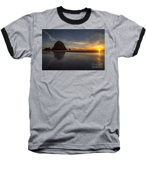 Cannon Beach Dusk Conclusion Baseball T-Shirt by Mike Reid