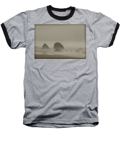 Cannon Beach In A Fog Oregon Baseball T-Shirt