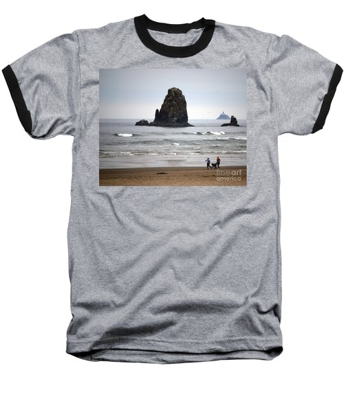 Cannon Beach Run Baseball T-Shirt by Sharon Elliott