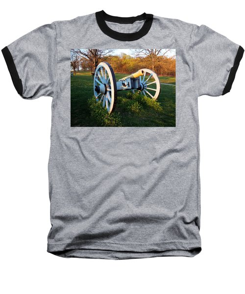 Baseball T-Shirt featuring the photograph Cannon In The Grass by Michael Porchik