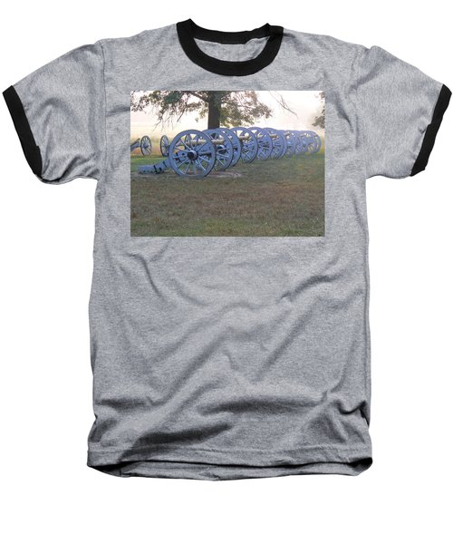 Baseball T-Shirt featuring the photograph Cannon's In Fog by Michael Porchik