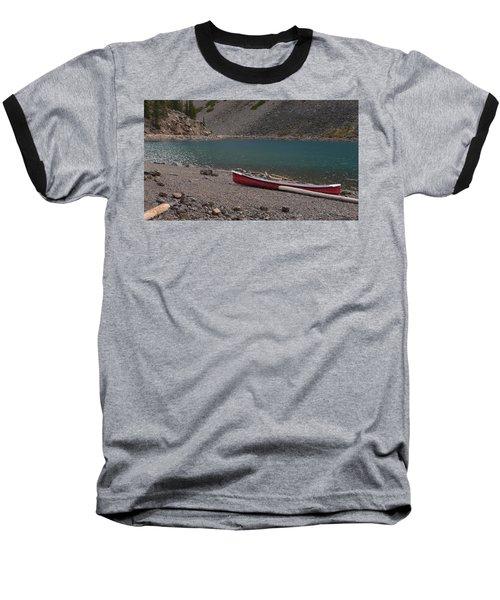 Canoe At Moraine Lake Baseball T-Shirt by Cheryl Miller