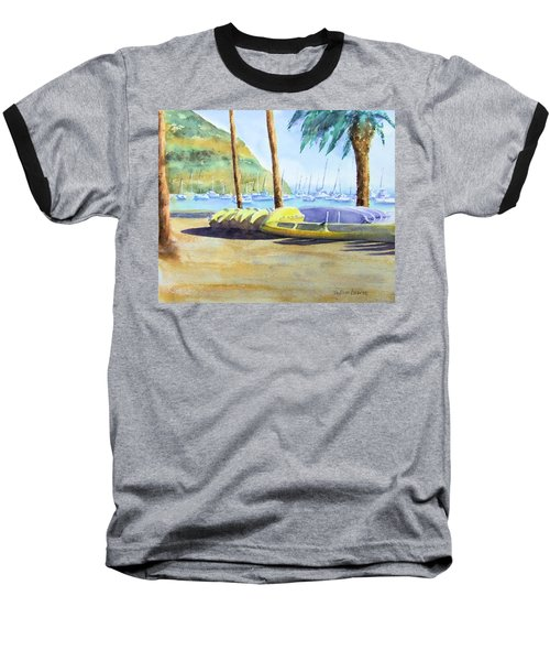 Canoes And Surfboards In The Morning Light - Catalina Baseball T-Shirt