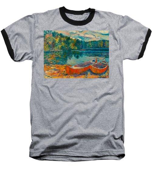 Canoes At Mountain Lake Baseball T-Shirt