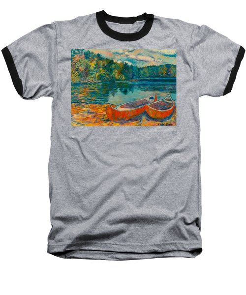 Canoes At Mountain Lake Baseball T-Shirt