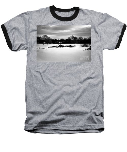 Canoes In The Snow - Monochrome Baseball T-Shirt