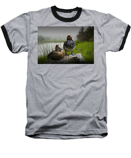 Canvasback Duck Pair By A Pond Baseball T-Shirt