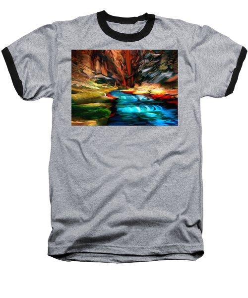 Canyon Waterfall Impressions Baseball T-Shirt by Bob and Nadine Johnston