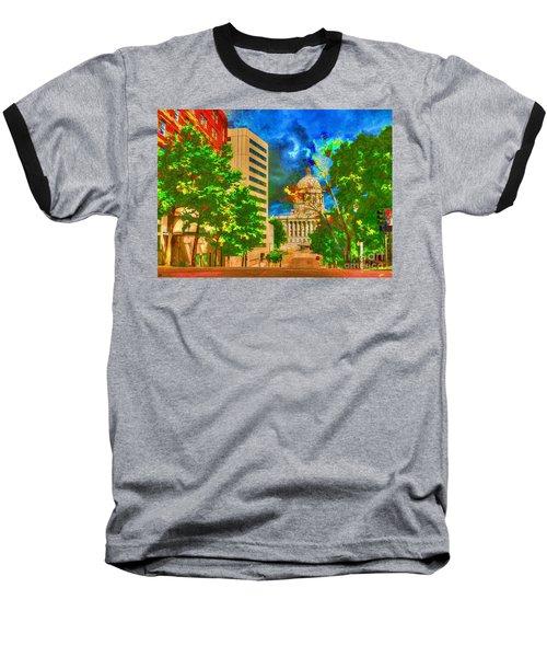 Capital - Jefferson City Missouri - Painting Baseball T-Shirt by Liane Wright