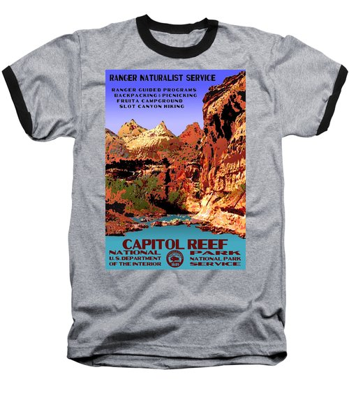 Capitol Reef National Park Vintage Poster Baseball T-Shirt