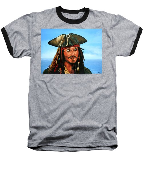 Captain Jack Sparrow Painting Baseball T-Shirt by Paul Meijering