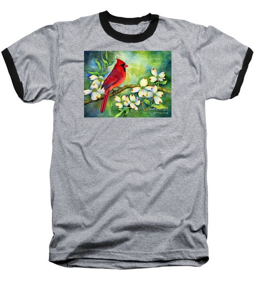 Cardinal On Dogwood Baseball T-Shirt