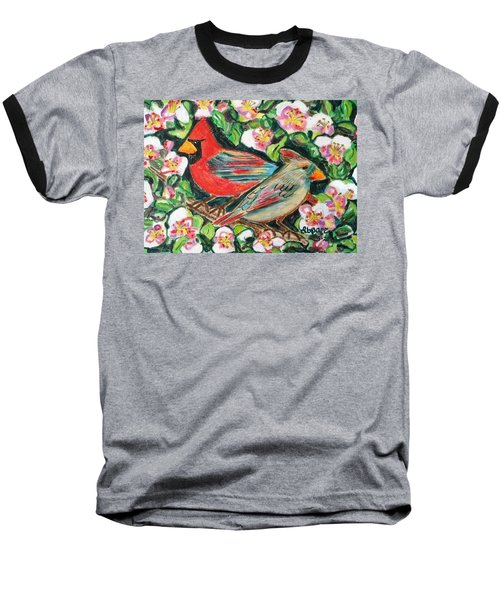 Cardinals In An Apple Tree Baseball T-Shirt by Diane Pape
