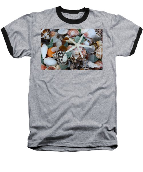 Caribbean Shells Baseball T-Shirt by The Art of Alice Terrill