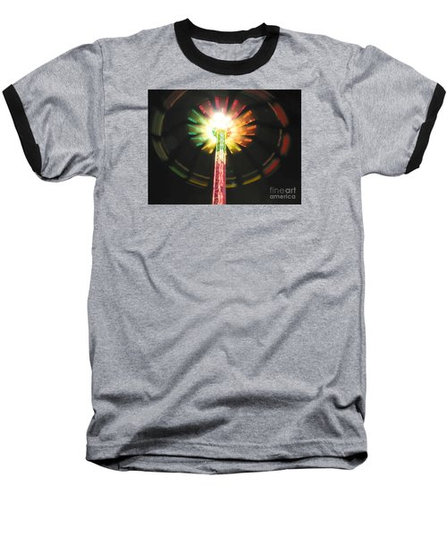 Carnival Ride At Night Baseball T-Shirt by Connie Fox