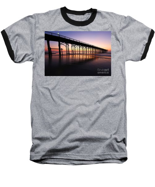 North Carolina Beach Pier - Sunrise Baseball T-Shirt
