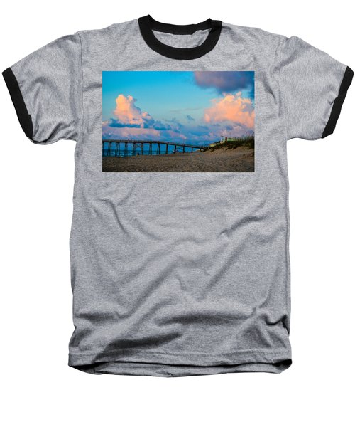 Carolina Blue Over Kure Beach Baseball T-Shirt