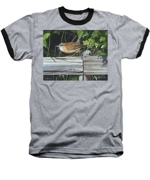 Baseball T-Shirt featuring the painting Carolina Wren by Mike Brown