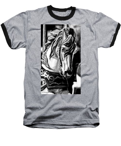 Carousel Horse Two - Bw Baseball T-Shirt