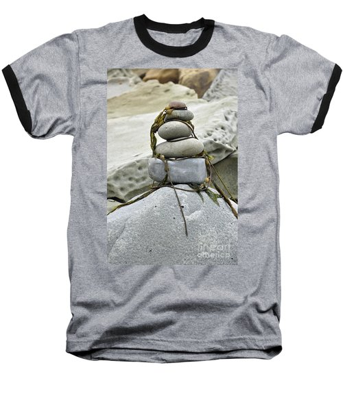 Carpinteria Stones Baseball T-Shirt by Minnie Lippiatt