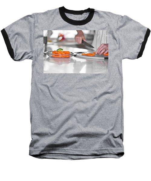 Baseball T-Shirt featuring the photograph Carrot Cutting In Kitchen by Gunter Nezhoda