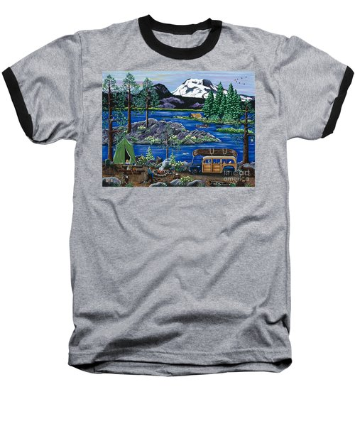 Baseball T-Shirt featuring the painting Cascade Lake Sparks by Jennifer Lake