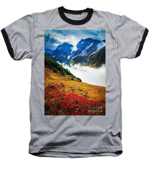 Cascade Pass Peaks Baseball T-Shirt by Inge Johnsson