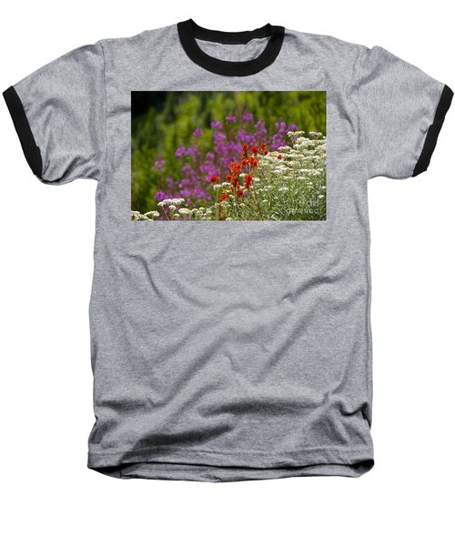 Cascade Wildflowers Baseball T-Shirt by Sean Griffin