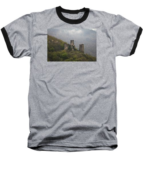 Castle In The Mountains. Baseball T-Shirt by Clare Bambers