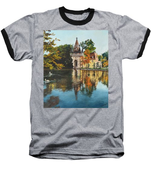 Castle On The Water Baseball T-Shirt by Mary Ellen Anderson