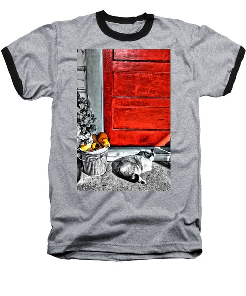 Cat By The Red Door Baseball T-Shirt