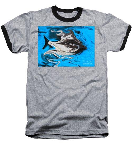 Abstract Cat Fish Baseball T-Shirt by Linsey Williams