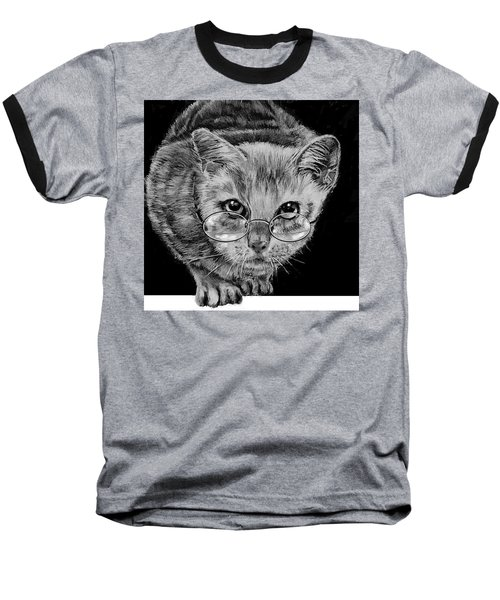 Cat In Glasses  Baseball T-Shirt by Jean Cormier