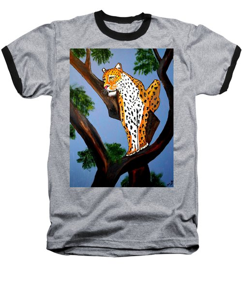 Baseball T-Shirt featuring the painting Cat On A Hot Wood Tree by Nora Shepley