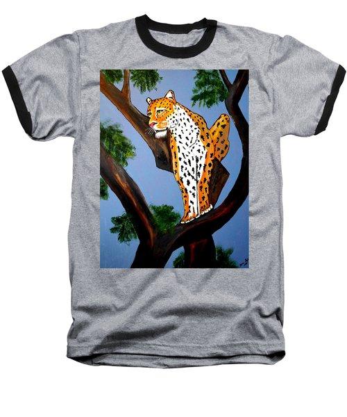 Cat On A Hot Wood Tree Baseball T-Shirt