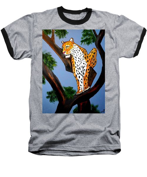 Cat On A Hot Wood Tree Baseball T-Shirt