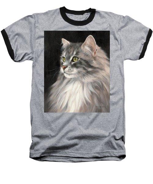 Cat Portrait Painting Baseball T-Shirt by Rachel Stribbling