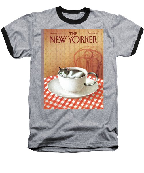 Cat Sits Inside A Coffee Cup Baseball T-Shirt