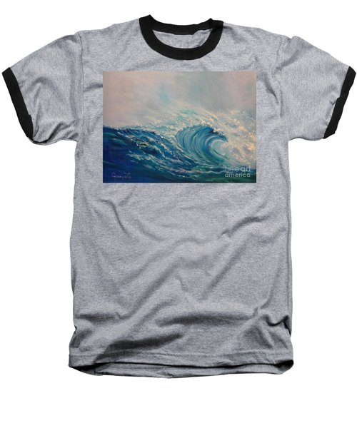 Baseball T-Shirt featuring the painting Wave 111 by Jenny Lee